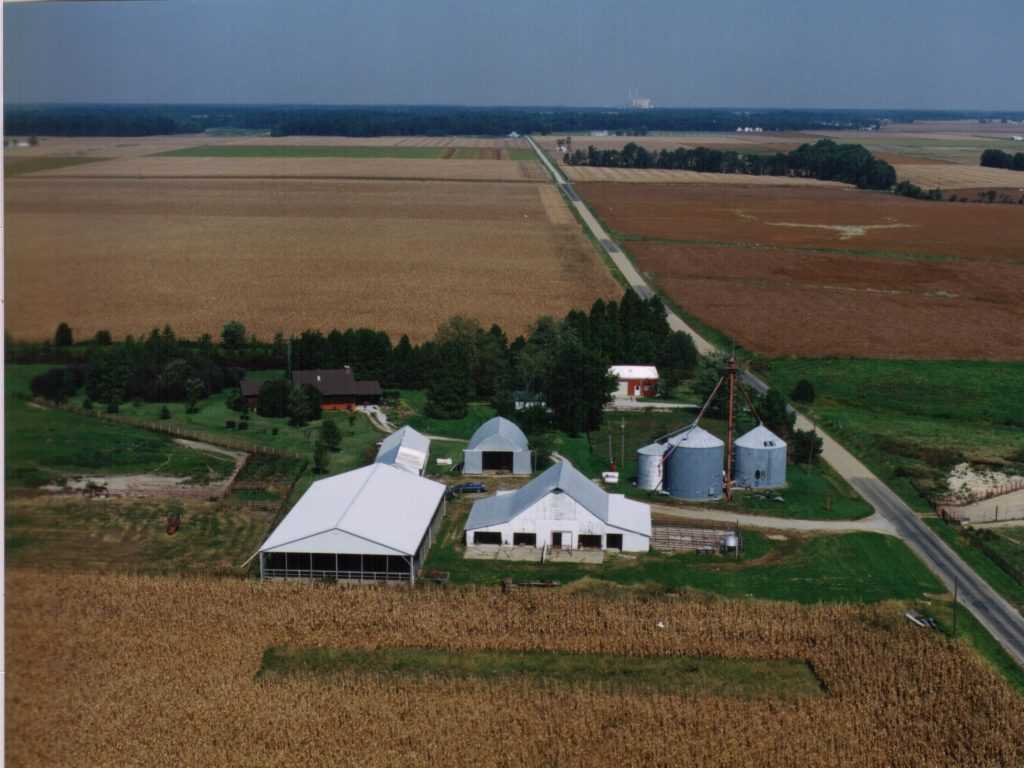 aerial of farm from south